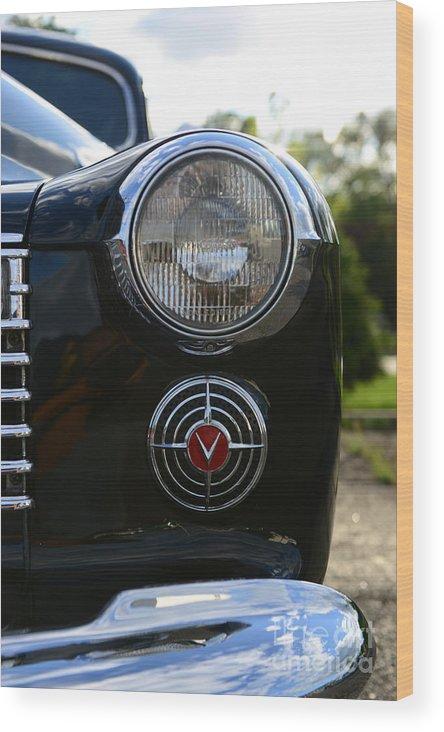 1941 Cadillac Headlight Wood Print featuring the photograph 1941 Cadillac Headlight by Paul Ward