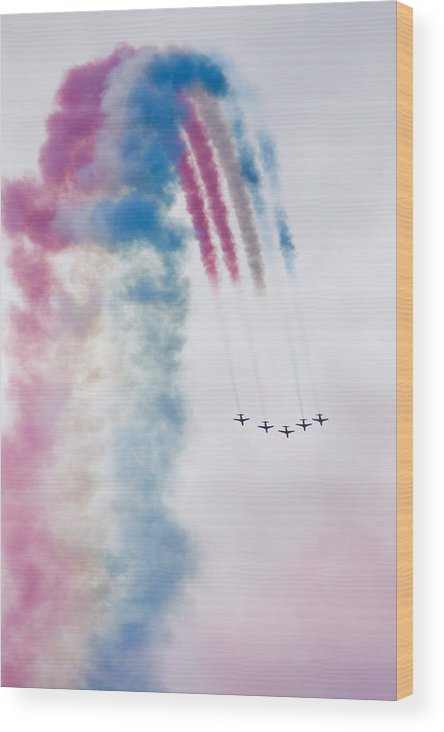 Red Wood Print featuring the photograph The Red Arrows by Ian Middleton