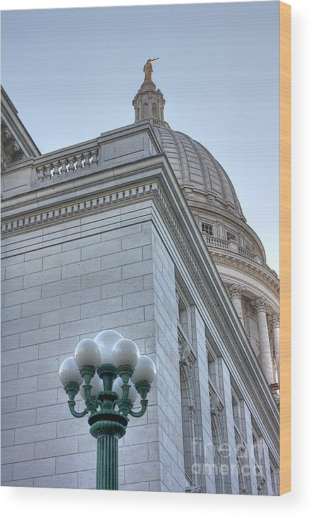 Madison Wisconsin Wood Print featuring the photograph A Capitol Sketch by David Bearden