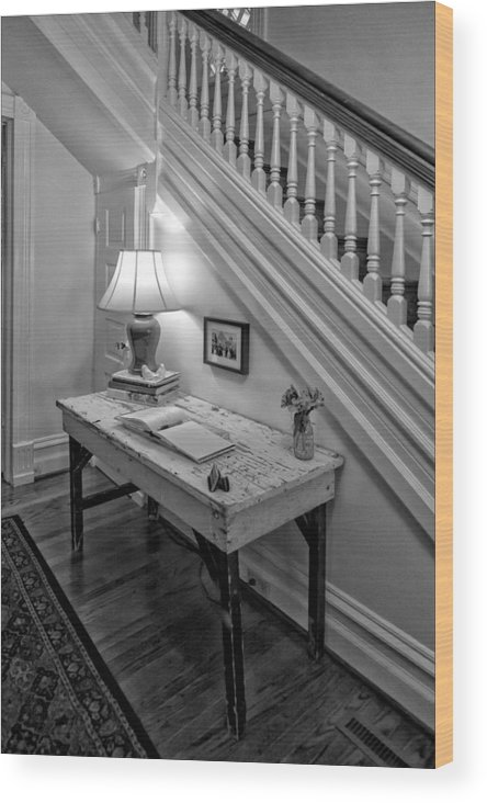Black And White Wood Print featuring the photograph A Quiet Corner by Robert Ullmann