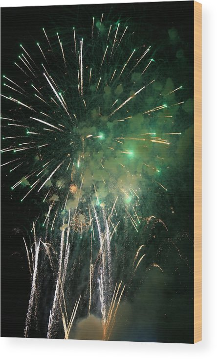 Fireworks Wood Print featuring the photograph After The Ball Game by James Jones