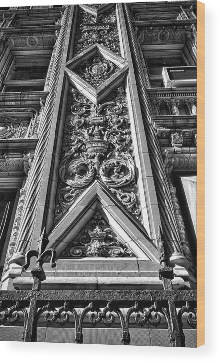 Black Russian Wood Print featuring the photograph Alwyn Court Building Detail 6 by Val Black Russian Tourchin