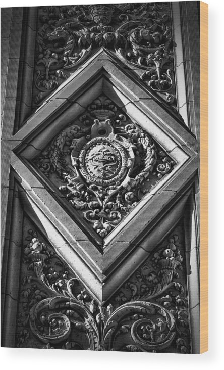 Black Russian Wood Print featuring the photograph Alwyn Court Building Detail 9 by Val Black Russian Tourchin