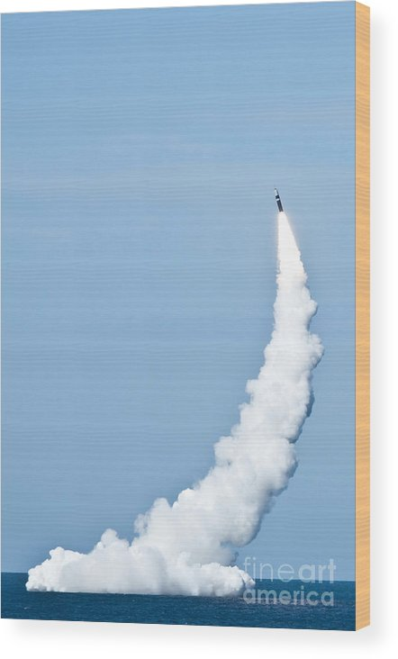Pacific Ocean Wood Print featuring the photograph An Unarmed Trident II D5 Missile by Stocktrek Images