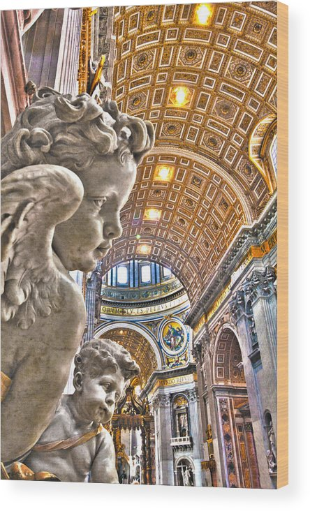 Italy Wood Print featuring the photograph Angels At The Vatican by Michael Yeager