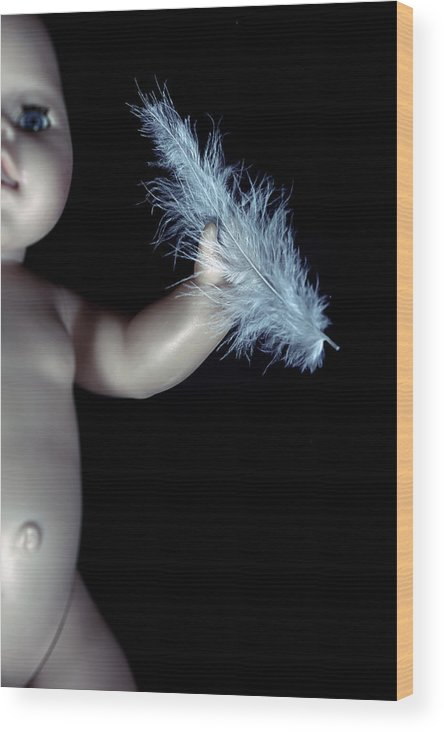 Doll Wood Print featuring the photograph Baby Doll With Feather by Joana Kruse