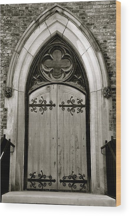 Door Wood Print featuring the photograph Black And White Doorway by Rosemary Legge