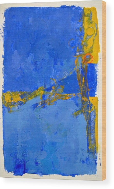 Abstract Paintings Wood Print featuring the painting Blue Edge Wedge by Cliff Spohn