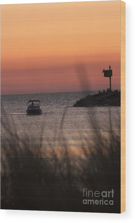 Wood Print featuring the photograph Boat By Harbor Entrance by Christopher Purcell