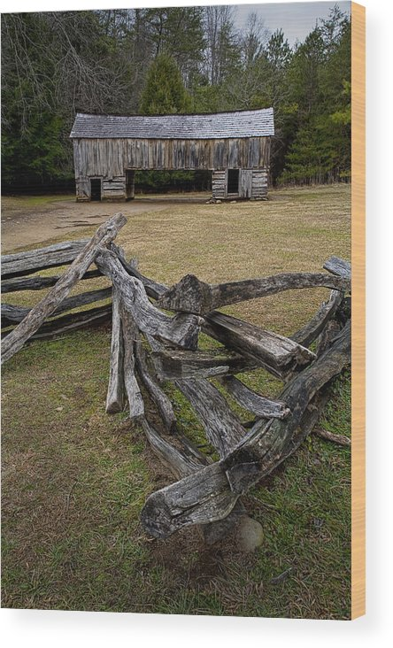 Art Wood Print featuring the photograph Cable Mill Barn In Cade's Cove No.123 by Randall Nyhof