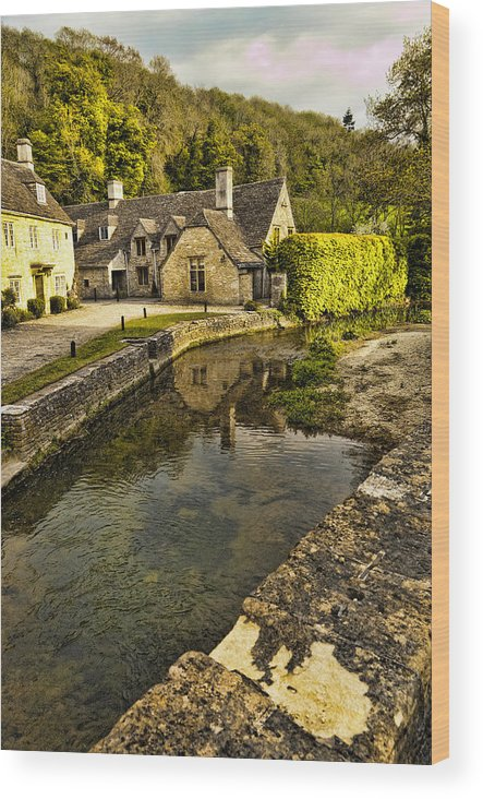 Castle Combe Wood Print featuring the photograph Castle Combe Bridgeside by Jon Berghoff