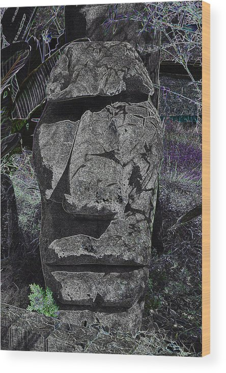 Tiki Wood Print featuring the photograph Dark Tiki by Bill Owen