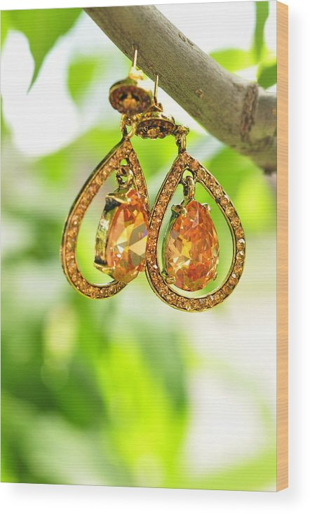 Earrings Wood Print featuring the photograph Earrings by Puzzles Shum