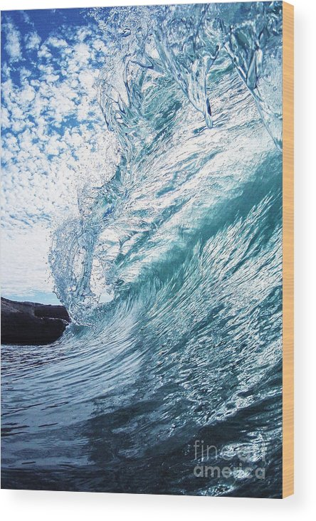 Wave Wood Print featuring the photograph Falling Glass by Paul Topp