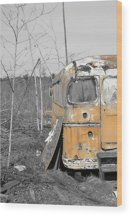 Black And White Photograph. Bus Photo Wood Print featuring the photograph Field Of Broken Dreams by James Johnson