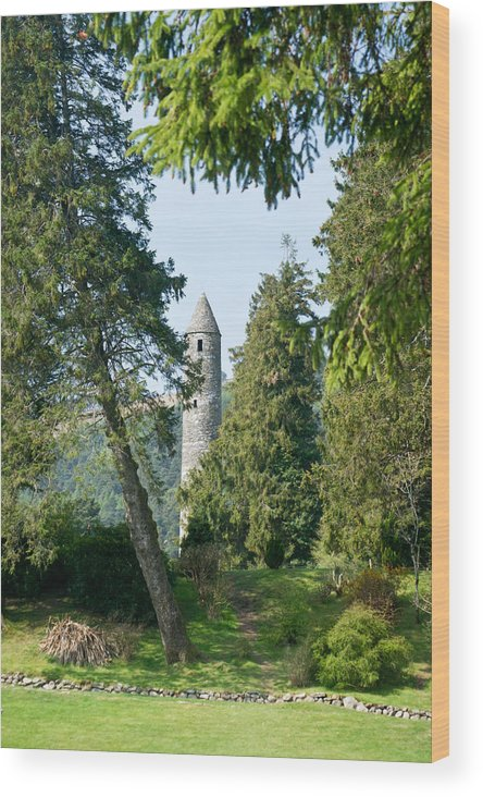 Round Wood Print featuring the photograph Glendalaugh Round Tower 11 by Douglas Barnett