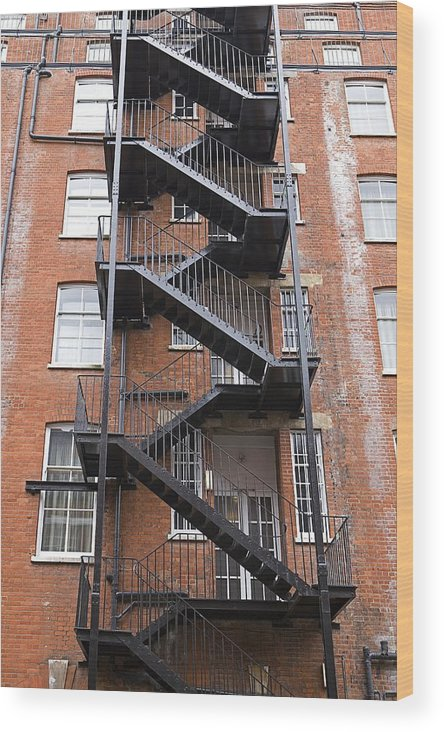 Vertical Wood Print Featuring The Photograph Great Britain, England,  London, Fire Escape Staircase