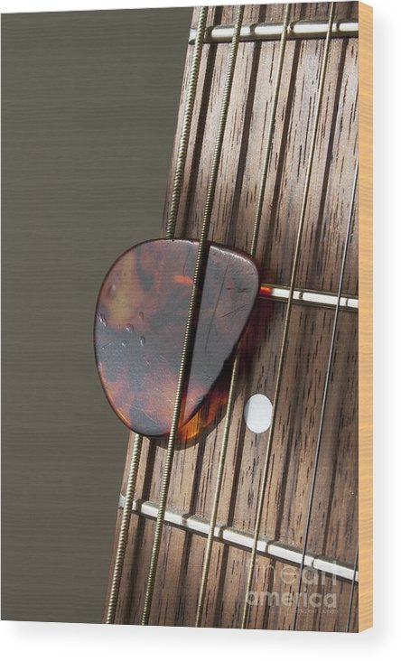 Acoustic Wood Print featuring the photograph Guitar Neck Frets And Pick by Gordon Wood