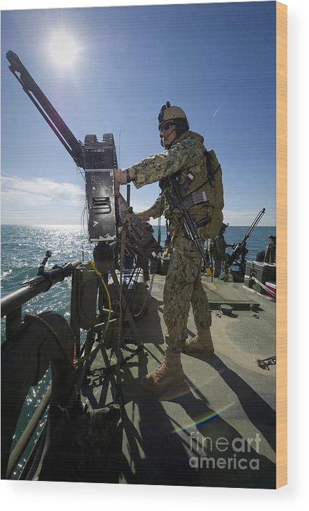 Men Wood Print featuring the photograph Gunner Mans A M240 Machine Gun by Stocktrek Images