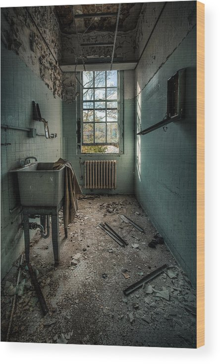 Hdr Wood Print Featuring The Photograph Janitors Closet By Gary Heller