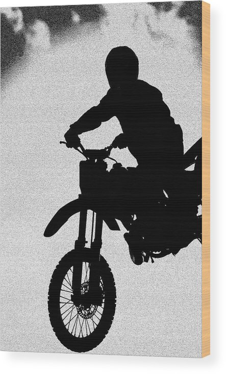 Motorcycle Wood Print featuring the photograph Jumping High by Carolyn Marshall
