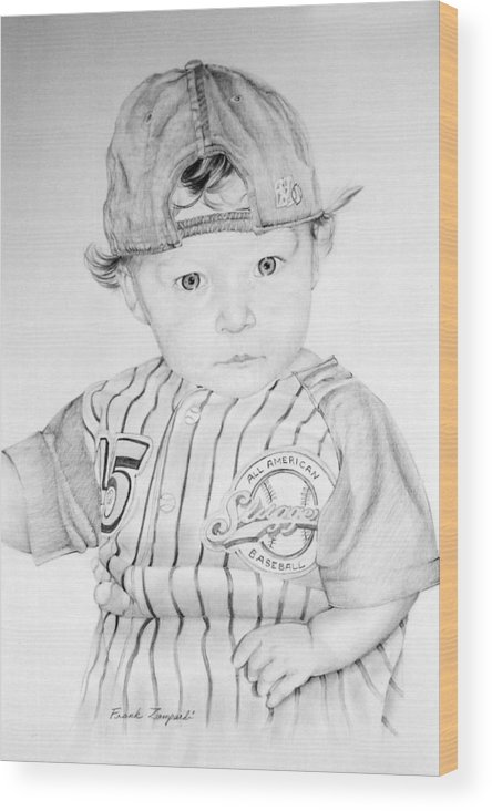 Baby Baseball Player Wood Print featuring the drawing Little Slugger by Frank Zampardi