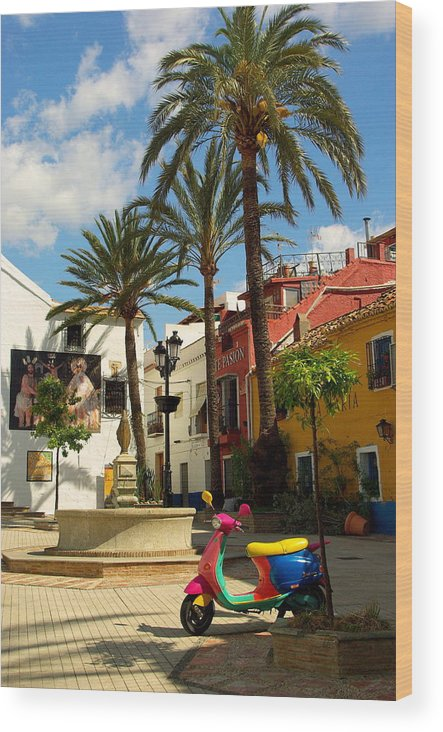 Spain Wood Print featuring the photograph Marbella Scooter by Iain MacVinish