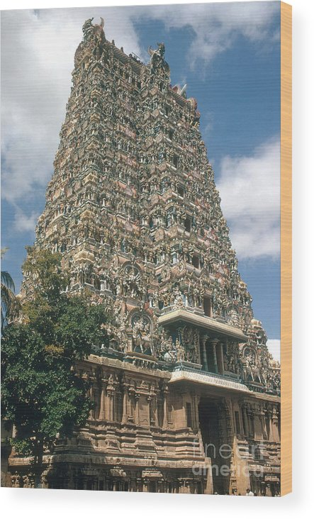 People Wood Print featuring the photograph Meenakshi Temple by Photo Researchers, Inc.