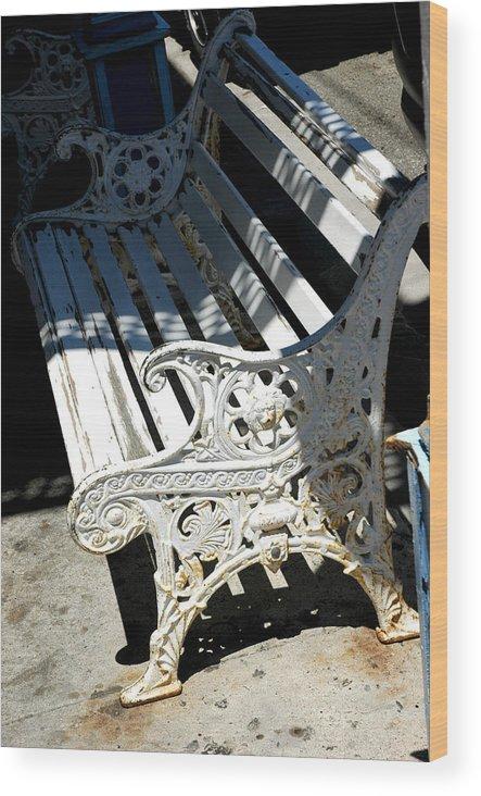 Usa Wood Print featuring the photograph Old Cast Iron Bench Virginia City Nevada by LeeAnn McLaneGoetz McLaneGoetzStudioLLCcom
