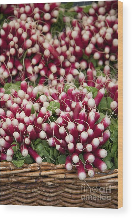 Agriculture Wood Print featuring the photograph Radishes In A Basket by Jane Rix