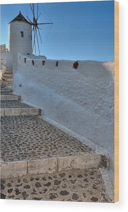 Aegean Wood Print featuring the photograph Santorini - Greece by Constantinos Iliopoulos