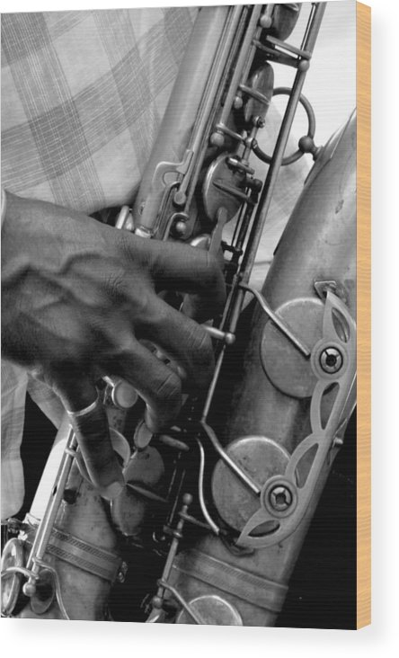 New Orleans Wood Print featuring the photograph Saxophone Plaayer by Mimi Fowler