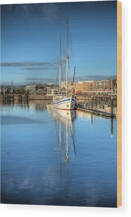 Next Wave Wood Print featuring the photograph Schooner 4 by Steve Purnell