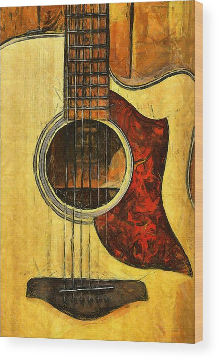 Guitar Wood Print featuring the photograph Six-string Acoustic Viii by Brian Davis