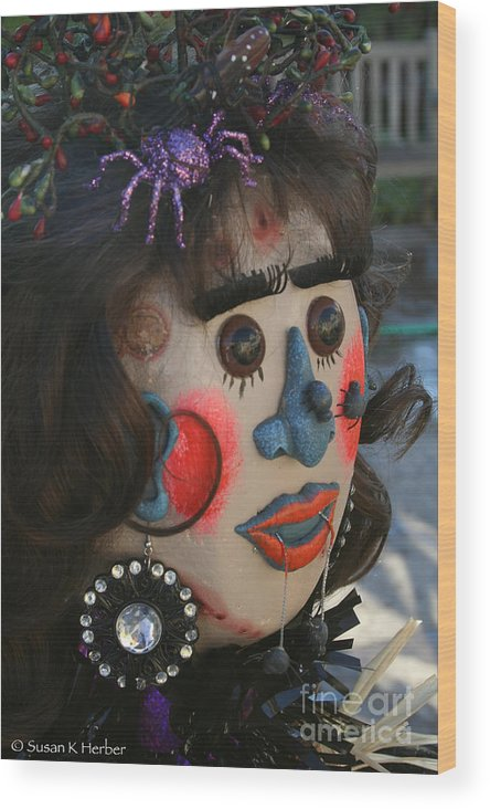 Fall Wood Print featuring the photograph Spiderwoman Scarecrow by Susan Herber