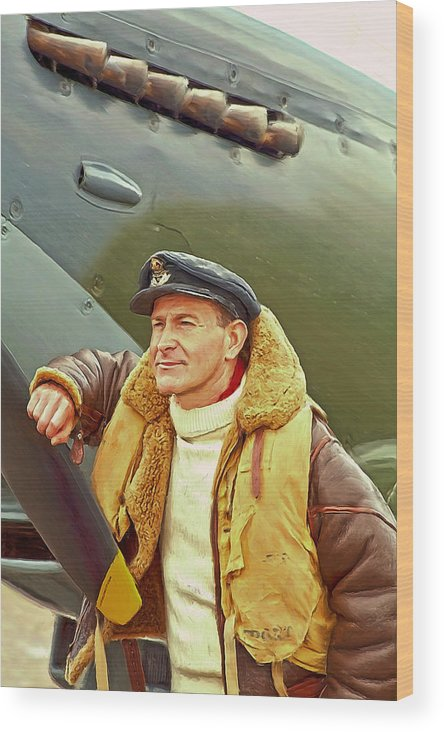 Fighter Wood Print featuring the digital art Spitfire Pilot by Ian Merton