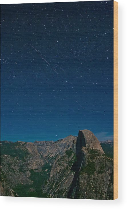 Stars Wood Print featuring the photograph Stars Over Half Dome by Adam Pender
