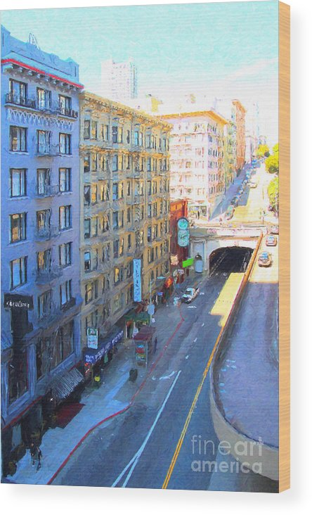 San Francisco Wood Print featuring the photograph Stockton Street Tunnel In Heavy Shadow by Wingsdomain Art and Photography
