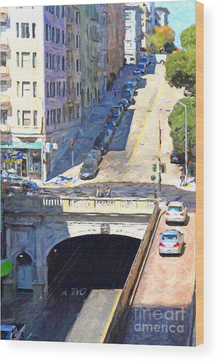 San Francisco Wood Print featuring the photograph Stockton Street Tunnel Midday Late Summer In San Francisco by Wingsdomain Art and Photography