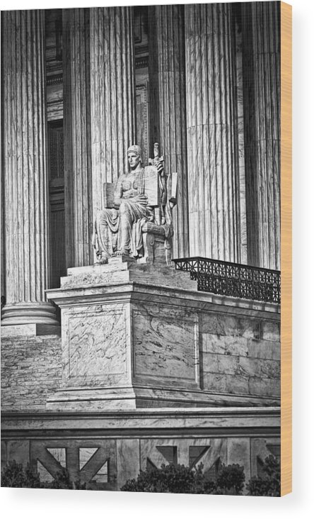 Black Russian Wood Print featuring the photograph Supreme Court Building 1 by Val Black Russian Tourchin
