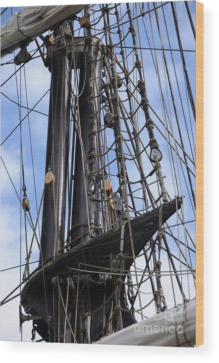 Mast Wood Print featuring the photograph Tall Ship Mast by Ronald Grogan