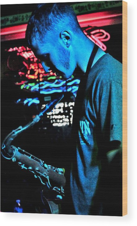 Andy Bower Wood Print featuring the photograph The Blues Player by Mary Frances