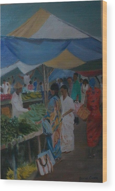 Art Wood Print featuring the painting The Market by Janine Casse
