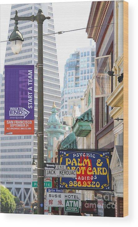 Wingsdomain Wood Print featuring the photograph Transamerica Pyramid Through Jack Kerouac Street San Francisco by Wingsdomain Art and Photography