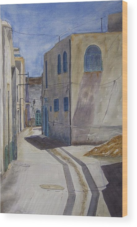 Alley Wood Print featuring the painting Tunisia by Clayton Harper