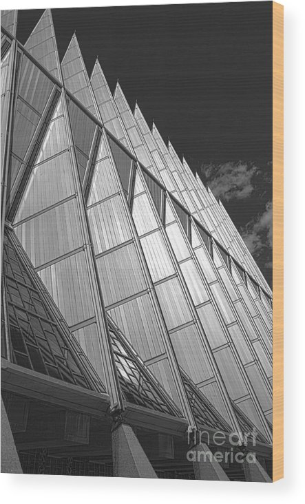 Wood Print featuring the photograph Us Air Force Academy Chapel 2 by David Bearden