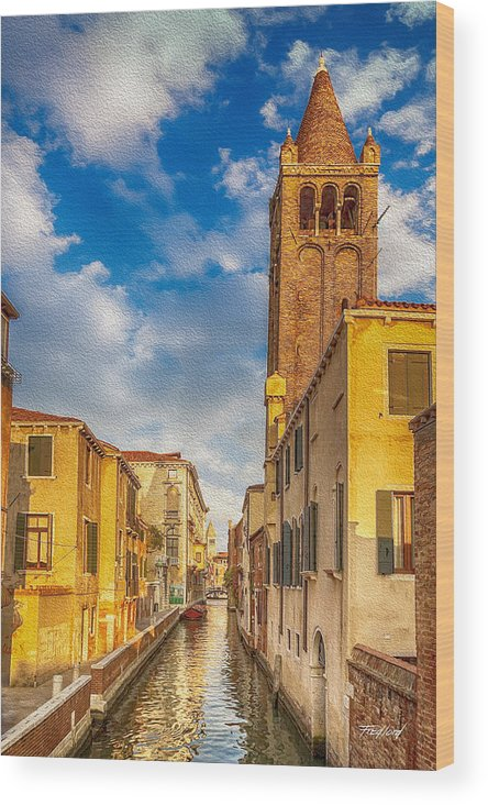 Towers Wood Print featuring the photograph Venice Sunset View Of Two Towers From The Ponte San Barnaba On The Fondamenta Rezzonica by Fred J Lord