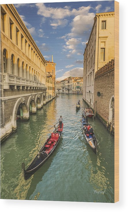 Venice Wood Print featuring the photograph Venice View To The Grand Canal From The Calle Foscari Bridge by Fred J Lord