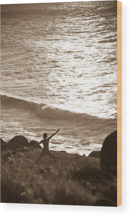 Kalalau Wood Print featuring the photograph Yoga At Kalalau by Lannie Boesiger