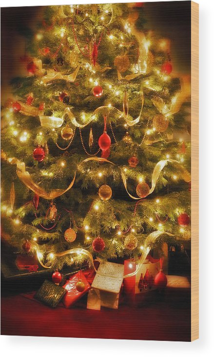 Victorian Christmas Tree Xmas Baubles Gifts Presents Decorations Ribbon Pine Needles Fairy Lights Wood Print featuring the photograph Christmas Tree by Mal Bray